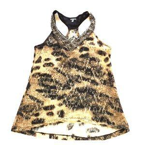 Animal Print Lace Tank Top